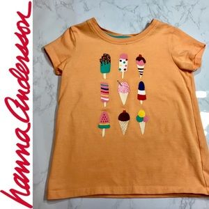 Hanna Andersson Girls' Short Sleeved Tee Popsicle